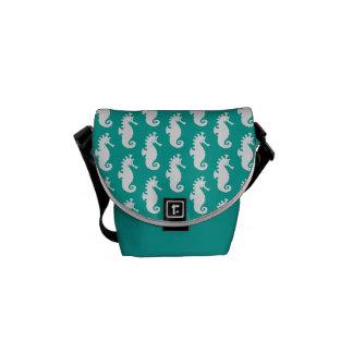 Teal Seahorse Pattern 1 Commuter Bag