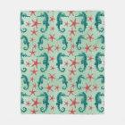 Teal Seahorse Pattern 2 Fleece Blanket