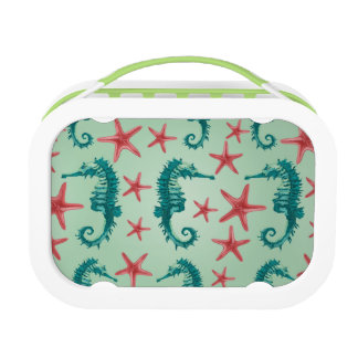 Teal Seahorse Pattern 2 Lunch Box