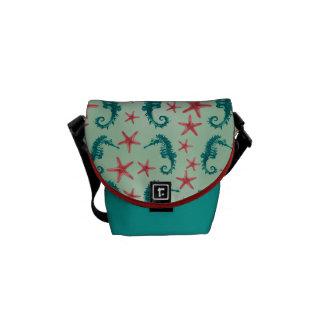 Teal Seahorse Pattern 2 Messenger Bag