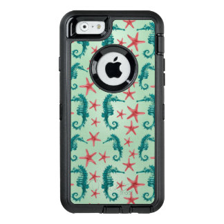 Teal Seahorse Pattern 2 OtterBox Defender iPhone Case
