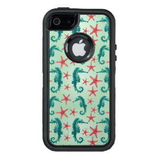 Teal Seahorse Pattern 2 OtterBox iPhone 5/5s/SE Case