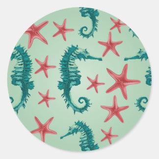 Teal Seahorse Pattern 2 Round Sticker