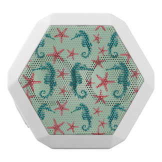 Teal Seahorse Pattern 2 White Bluetooth Speaker