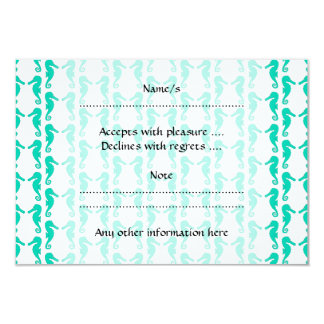 Teal Seahorse Pattern 9 Cm X 13 Cm Invitation Card