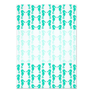 Teal Seahorse Pattern 5x7 Paper Invitation Card