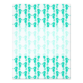 "Teal Seahorse Pattern 4.25"" X 5.5"" Invitation Card"