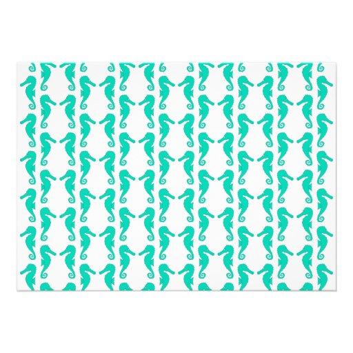 Teal Seahorse Pattern Invite