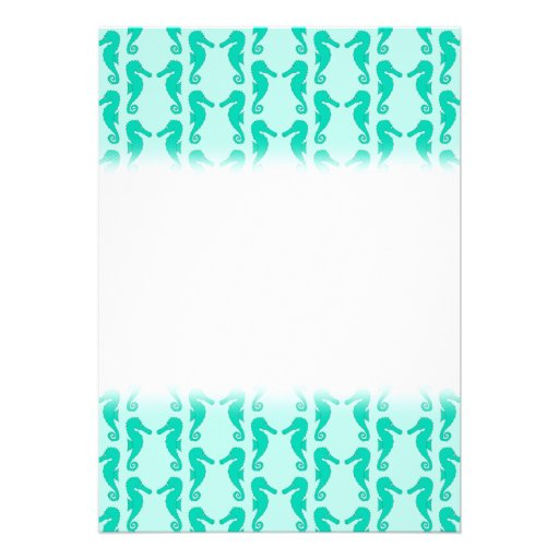 Teal Seahorse Pattern Personalized Invitations