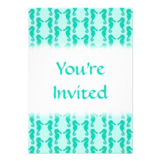 Teal Seahorse Pattern Personalized Invite