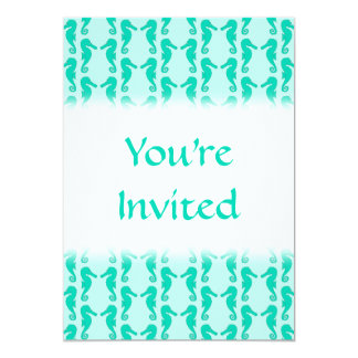 "Teal Seahorse Pattern 5"" X 7"" Invitation Card"