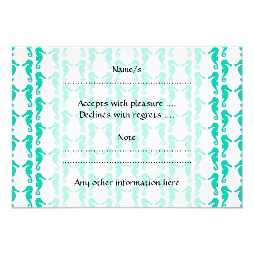 Teal Seahorse Pattern Personalized Invites