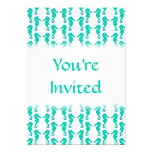 Teal Seahorse Pattern Invites