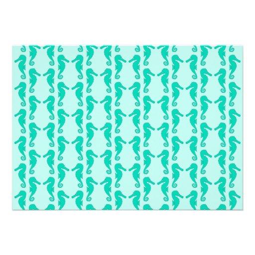 Teal Seahorse Pattern Custom Announcements