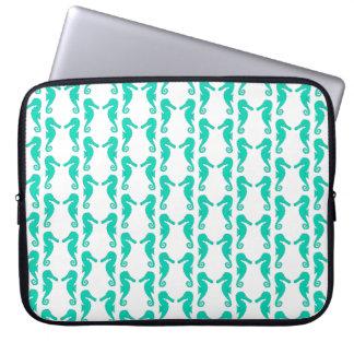 Teal Seahorse Pattern Laptop Sleeve