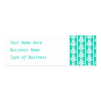 Teal Seahorse Pattern Pack Of Skinny Business Cards