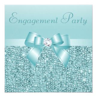 Teal Sequins, Bow & Diamond Engagement Party 13 Cm X 13 Cm Square Invitation Card