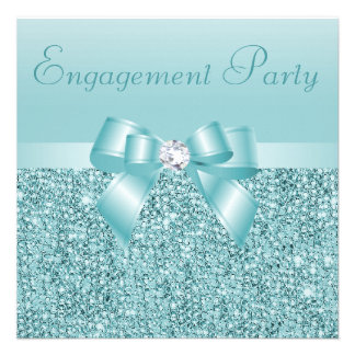 Teal Sequins Bow Diamond Engagement Party Personalized Invite