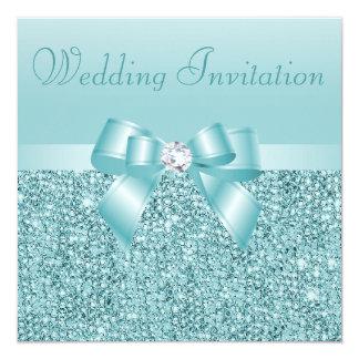 Teal Sequins, Bow & Diamond Wedding 13 Cm X 13 Cm Square Invitation Card