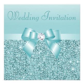 Teal Sequins, Bow & Diamond Wedding Custom Announcements