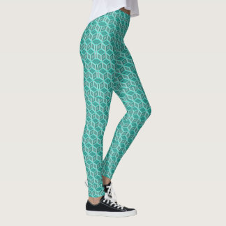 Teal Shades Optical Illusion Boxes Pattern Leggings