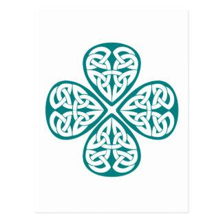 Teal Shamrock Celtic Knot Postcard