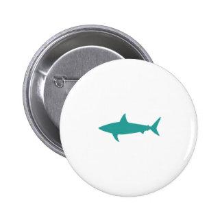 Teal Shark Button Badge