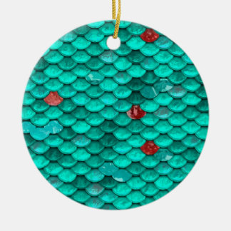 Teal Shimmer and Ruby Fish Scales Pattern Christmas Ornament