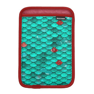 Teal Shimmer and Ruby Fish Scales Pattern iPad Mini Sleeve