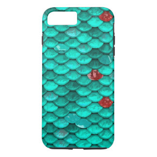 Teal Shimmer and Ruby Fish Scales Pattern iPhone 8 Plus/7 Plus Case