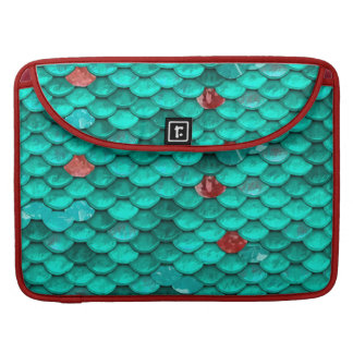 Teal Shimmer and Ruby Fish Scales Pattern Sleeve For MacBook Pro