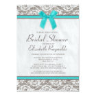 Teal Silver Country Lace Bridal Shower Invitations