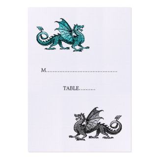 Teal Silver Dragon Wedding Place Card Pack Of Chubby Business Cards