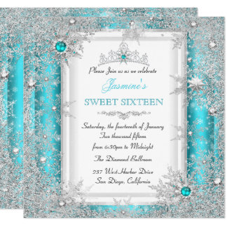 Teal Silver Winter Wonderland Sweet 16 Snowflake Card