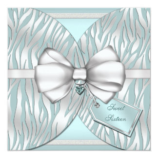 Teal Silver Zebra Invite Ribbon & Jeweled Bow