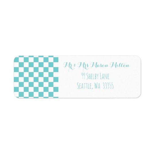 Teal Sky Chequerboard Geometric Return Address Label