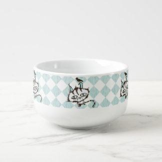 Teal Sky Kitty Checkered Soup Bowl With Handle