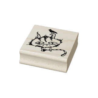 Teal Sky Kitty Rubber Stamp