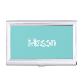 Teal Sky Personalized Business Card Holder