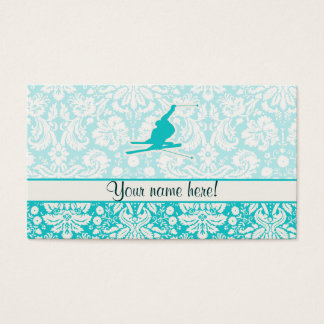 Teal Snow Skiing Business Card