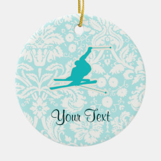 Teal Snow Skiing Christmas Ornament