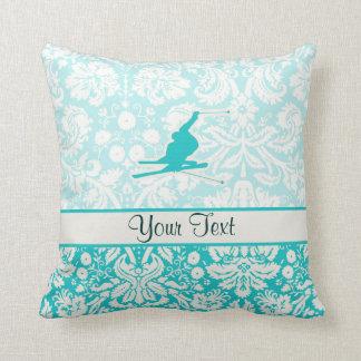 Teal Snow Skiing Cushion