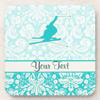 Teal Snow Skiing Drink Coasters
