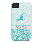 Teal Snow Skiing iPhone 4 Cases