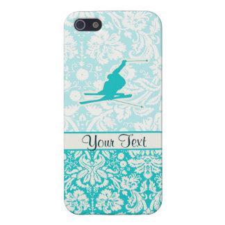 Teal Snow Skiing iPhone 5 Cases