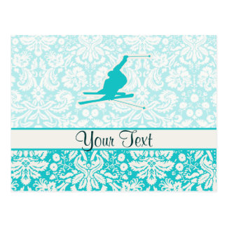 Teal Snow Skiing Postcard