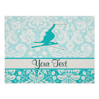 Teal Snow Skiing Poster