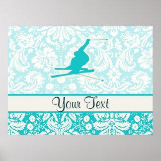 Teal Snow Skiing Print