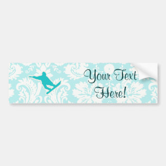 Teal Snowboarding Bumper Stickers