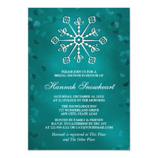 TEAL SNOWFLAKE BRIDAL SHOWER 13 CM X 18 CM INVITATION CARD